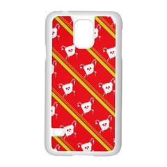 Panda Bear Face Line Red Yellow Samsung Galaxy S5 Case (white)