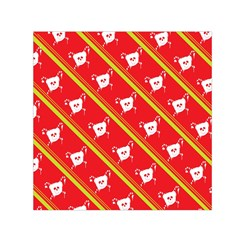 Panda Bear Face Line Red Yellow Small Satin Scarf (square)