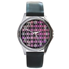 Old Version Plaid Triangle Chevron Wave Line Cplor  Purple Black Pink Round Metal Watch by Alisyart