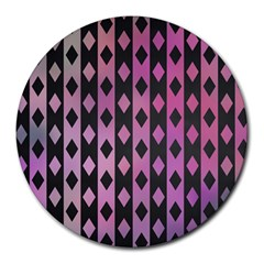 Old Version Plaid Triangle Chevron Wave Line Cplor  Purple Black Pink Round Mousepads by Alisyart