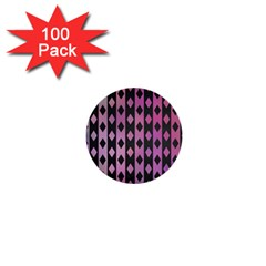 Old Version Plaid Triangle Chevron Wave Line Cplor  Purple Black Pink 1  Mini Buttons (100 Pack)  by Alisyart