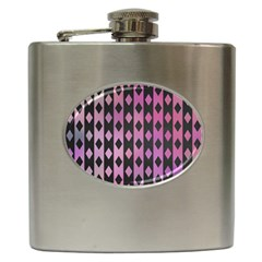 Old Version Plaid Triangle Chevron Wave Line Cplor  Purple Black Pink Hip Flask (6 Oz) by Alisyart
