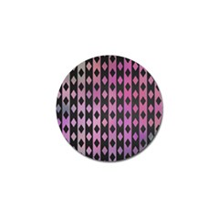 Old Version Plaid Triangle Chevron Wave Line Cplor  Purple Black Pink Golf Ball Marker