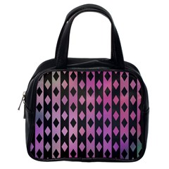 Old Version Plaid Triangle Chevron Wave Line Cplor  Purple Black Pink Classic Handbags (one Side) by Alisyart