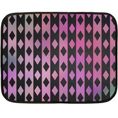 Old Version Plaid Triangle Chevron Wave Line Cplor  Purple Black Pink Double Sided Fleece Blanket (mini)  by Alisyart