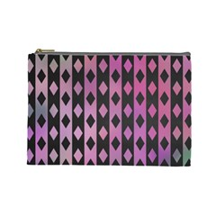 Old Version Plaid Triangle Chevron Wave Line Cplor  Purple Black Pink Cosmetic Bag (large)  by Alisyart