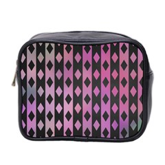 Old Version Plaid Triangle Chevron Wave Line Cplor  Purple Black Pink Mini Toiletries Bag 2 Side by Alisyart