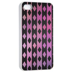 Old Version Plaid Triangle Chevron Wave Line Cplor  Purple Black Pink Apple Iphone 4/4s Seamless Case (white)