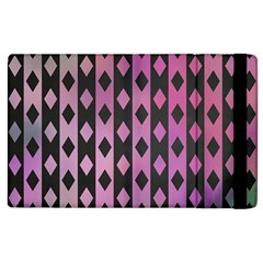 Old Version Plaid Triangle Chevron Wave Line Cplor  Purple Black Pink Apple Ipad 3/4 Flip Case by Alisyart