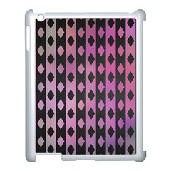 Old Version Plaid Triangle Chevron Wave Line Cplor  Purple Black Pink Apple Ipad 3/4 Case (white)