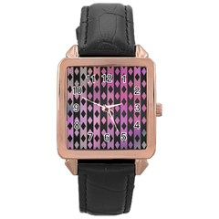 Old Version Plaid Triangle Chevron Wave Line Cplor  Purple Black Pink Rose Gold Leather Watch  by Alisyart