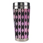 Old Version Plaid Triangle Chevron Wave Line Cplor  Purple Black Pink Stainless Steel Travel Tumblers Left