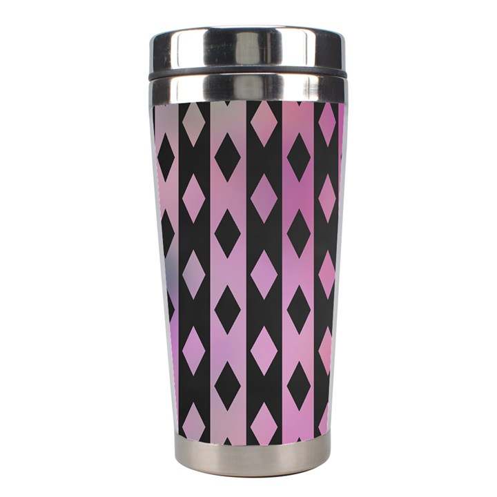 Old Version Plaid Triangle Chevron Wave Line Cplor  Purple Black Pink Stainless Steel Travel Tumblers