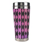 Old Version Plaid Triangle Chevron Wave Line Cplor  Purple Black Pink Stainless Steel Travel Tumblers Right