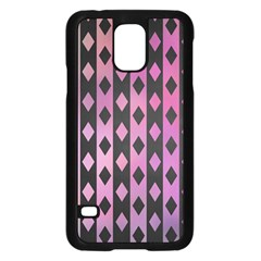 Old Version Plaid Triangle Chevron Wave Line Cplor  Purple Black Pink Samsung Galaxy S5 Case (black) by Alisyart