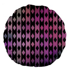 Old Version Plaid Triangle Chevron Wave Line Cplor  Purple Black Pink Large 18  Premium Flano Round Cushions by Alisyart