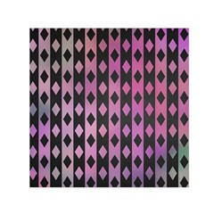 Old Version Plaid Triangle Chevron Wave Line Cplor  Purple Black Pink Small Satin Scarf (square)