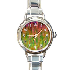 Abstract Trippy Bright Melting Round Italian Charm Watch by Simbadda