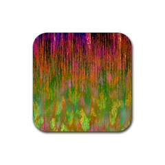 Abstract Trippy Bright Melting Rubber Coaster (square)