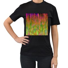 Abstract Trippy Bright Melting Women s T Shirt (black) (two Sided)