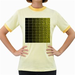 Pixel Gradient Pattern Women s Fitted Ringer T Shirts