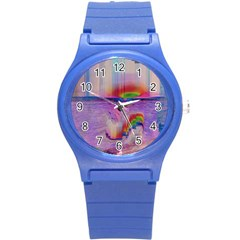 Glitch Art Abstract Round Plastic Sport Watch (s) by Simbadda