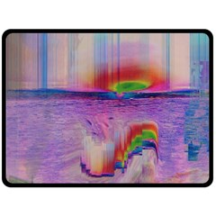 Glitch Art Abstract Double Sided Fleece Blanket (large)  by Simbadda
