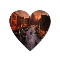 River Venice Gondolas Italy Artwork Painting Heart Magnet