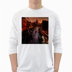 River Venice Gondolas Italy Artwork Painting White Long Sleeve T Shirts by Simbadda