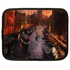 River Venice Gondolas Italy Artwork Painting Netbook Case (xl)  by Simbadda
