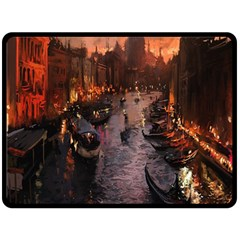 River Venice Gondolas Italy Artwork Painting Fleece Blanket (large)