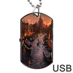 River Venice Gondolas Italy Artwork Painting Dog Tag Usb Flash (two Sides) by Simbadda