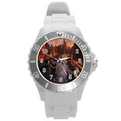 River Venice Gondolas Italy Artwork Painting Round Plastic Sport Watch (l) by Simbadda