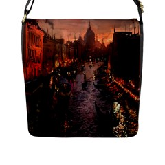 River Venice Gondolas Italy Artwork Painting Flap Messenger Bag (l)  by Simbadda