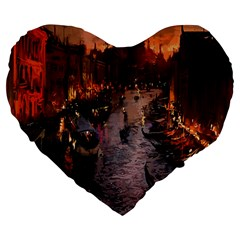 River Venice Gondolas Italy Artwork Painting Large 19  Premium Flano Heart Shape Cushions by Simbadda