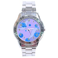 Purple Wave Circle Blue Stainless Steel Analogue Watch