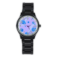 Purple Wave Circle Blue Stainless Steel Round Watch by Alisyart