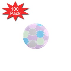 Pineapple Puffle Blue Pink Green Purple 1  Mini Magnets (100 Pack)