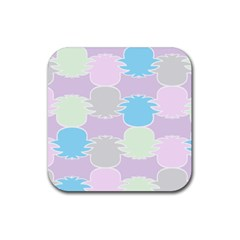 Pineapple Puffle Blue Pink Green Purple Rubber Square Coaster (4 Pack)  by Alisyart
