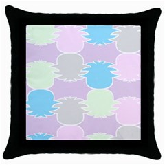 Pineapple Puffle Blue Pink Green Purple Throw Pillow Case (black) by Alisyart
