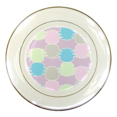 Pineapple Puffle Blue Pink Green Purple Porcelain Plates by Alisyart