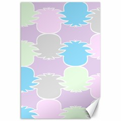 Pineapple Puffle Blue Pink Green Purple Canvas 12  X 18   by Alisyart