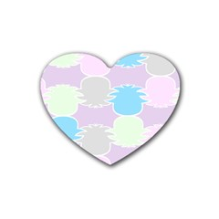 Pineapple Puffle Blue Pink Green Purple Rubber Coaster (heart)