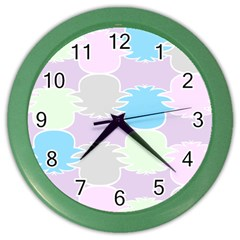 Pineapple Puffle Blue Pink Green Purple Color Wall Clocks by Alisyart