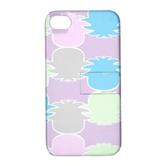 Pineapple Puffle Blue Pink Green Purple Apple Iphone 4/4s Hardshell Case With Stand by Alisyart