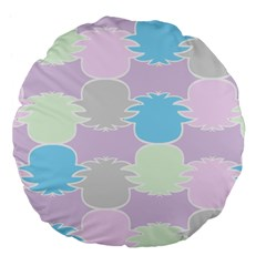 Pineapple Puffle Blue Pink Green Purple Large 18  Premium Flano Round Cushions