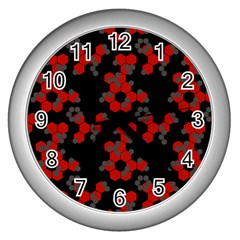 Red Digital Camo Wallpaper Red Camouflage Wall Clocks (silver)  by Alisyart