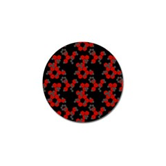 Red Digital Camo Wallpaper Red Camouflage Golf Ball Marker (4 Pack)