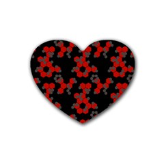 Red Digital Camo Wallpaper Red Camouflage Rubber Coaster (heart)