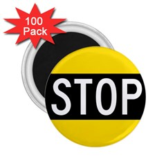 Road Sign Stop 2 25  Magnets (100 Pack)  by Alisyart